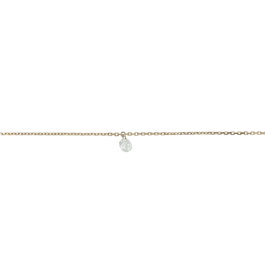 Collier diamant 4mm or rose