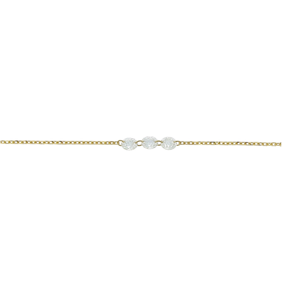 Collier diamants incrustés 3.5mm or jaune