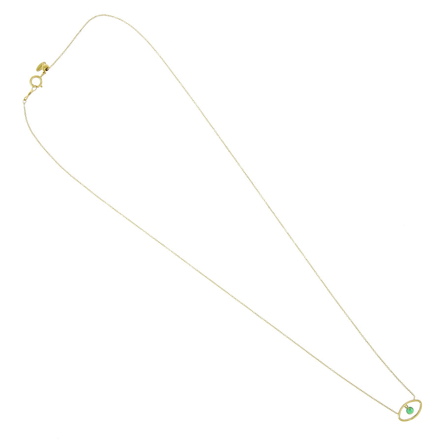 Collier Eye Emerald Or Jaune