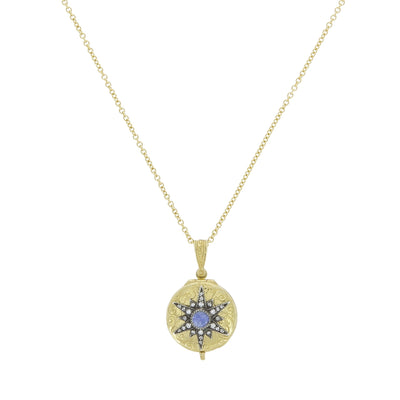 Collier Starbust Locket Saphir