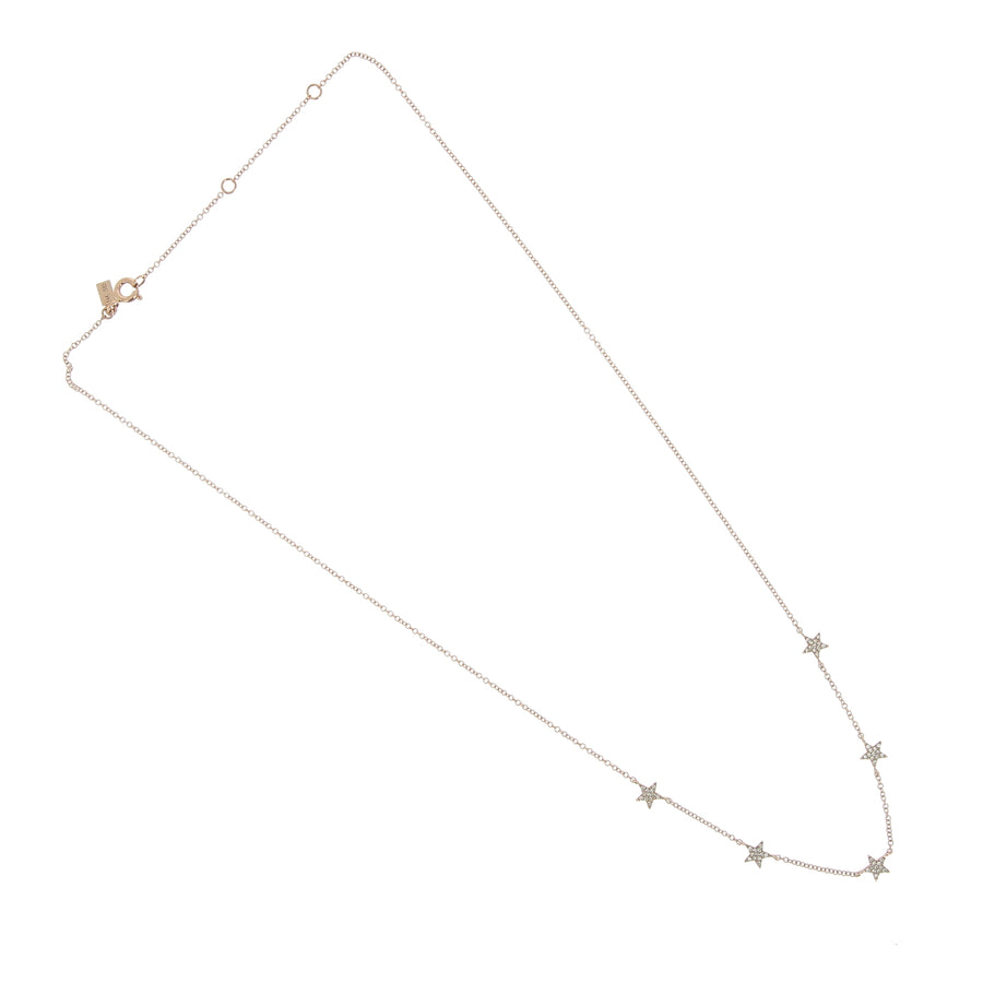 Collier 5 mini étoiles diamants