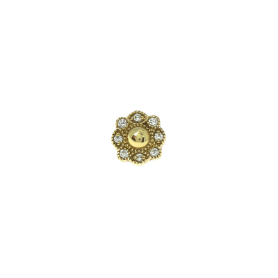 Stud Diamond Ball Flower Or Jaune