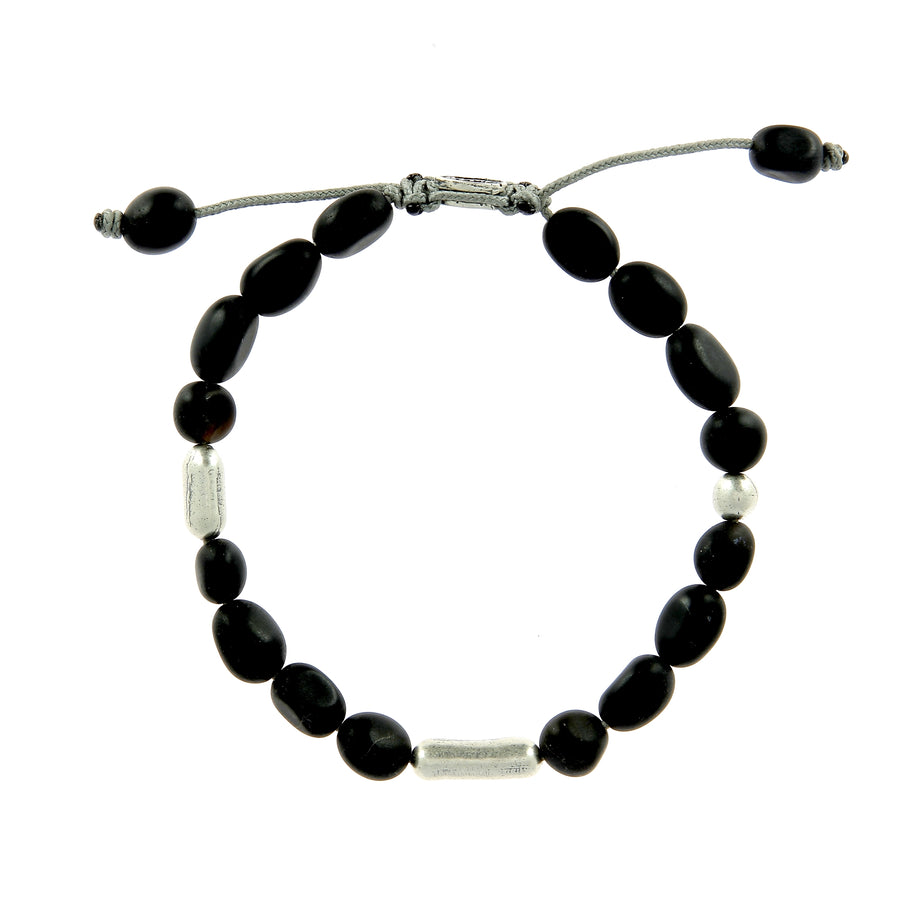 Frosted Gemstone Bracelet Black Agate