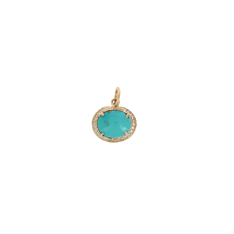 Charm Full Pave Oval Turquoise - Jacquie Aiche - Boucles d'oreille pour femme - Mad Lords
