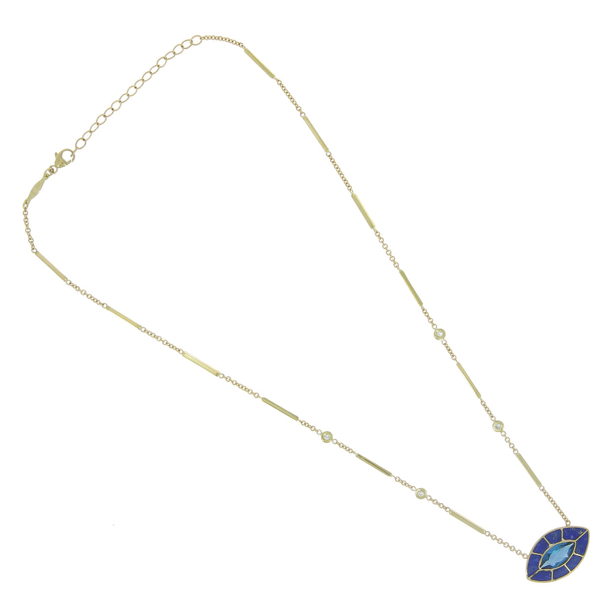 Collier oeil lapis et iolite diamants