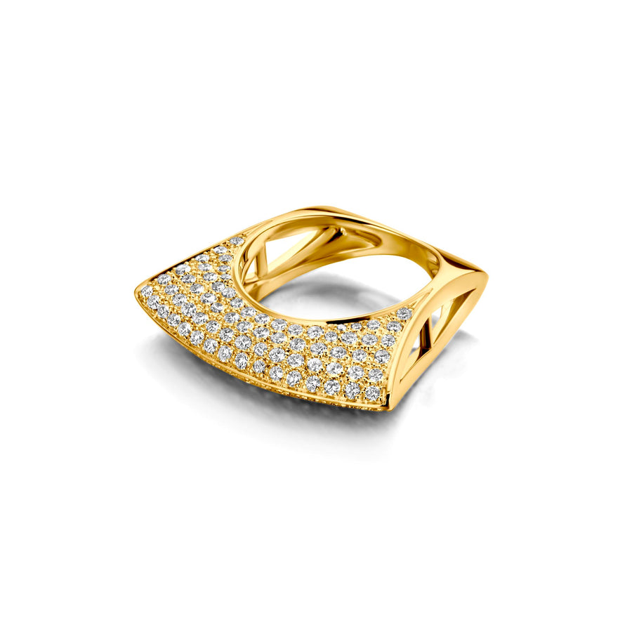 Bague Lotus Or Jaune Diamants Blancs