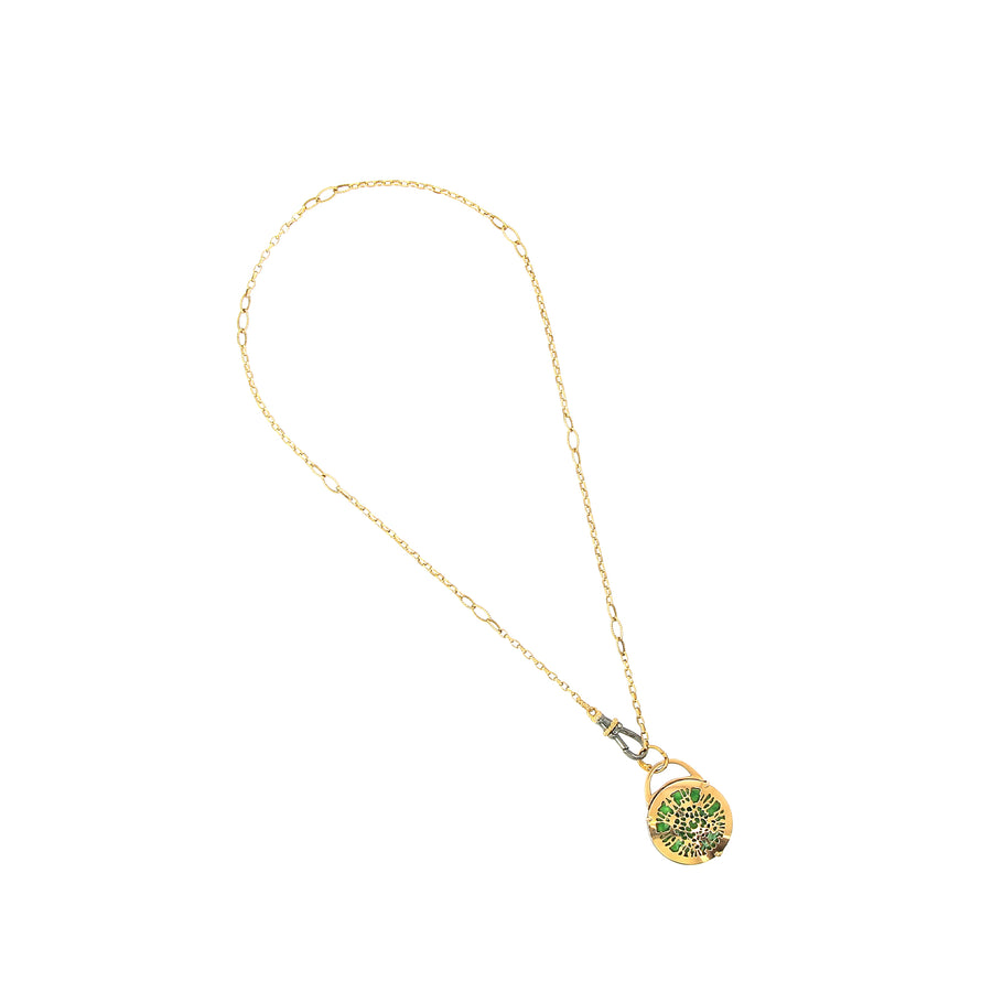 Collier Lucchetto avec Email Vert