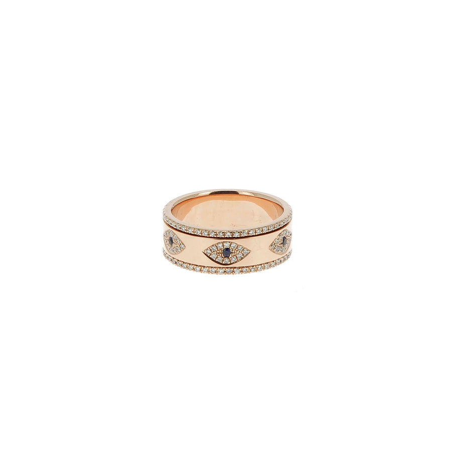 Bague rotative mauvais oeil multi diamants or rose