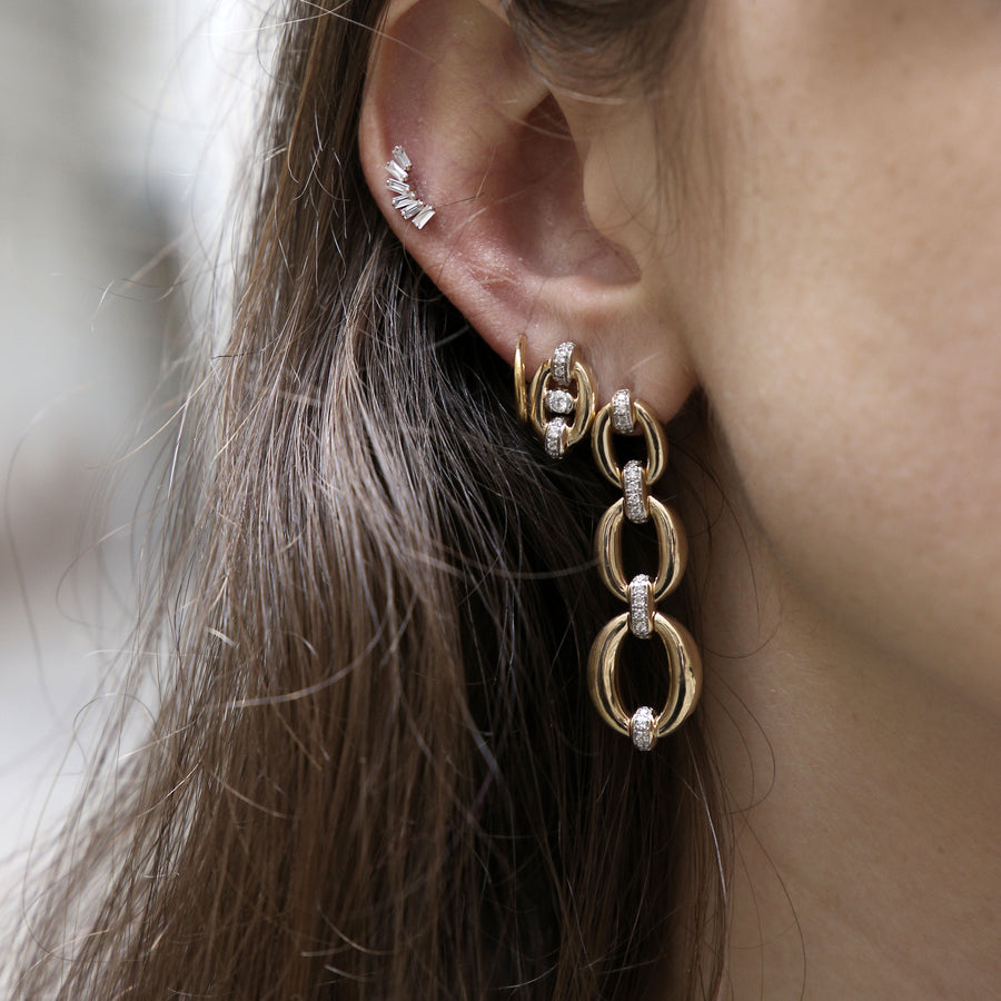 Boucles d'oreilles 2 liens diamants rhodium