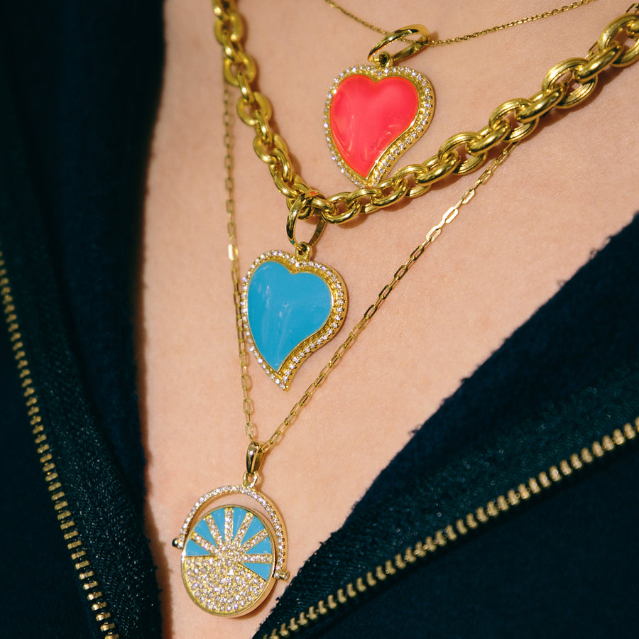 Collier Coeur Email Turquoise et Diamants