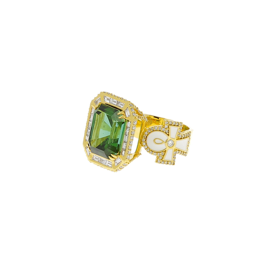 Bague octogone tourmaline verte et diamants
