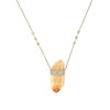 Collier Orange Aura Quartz et Diamant