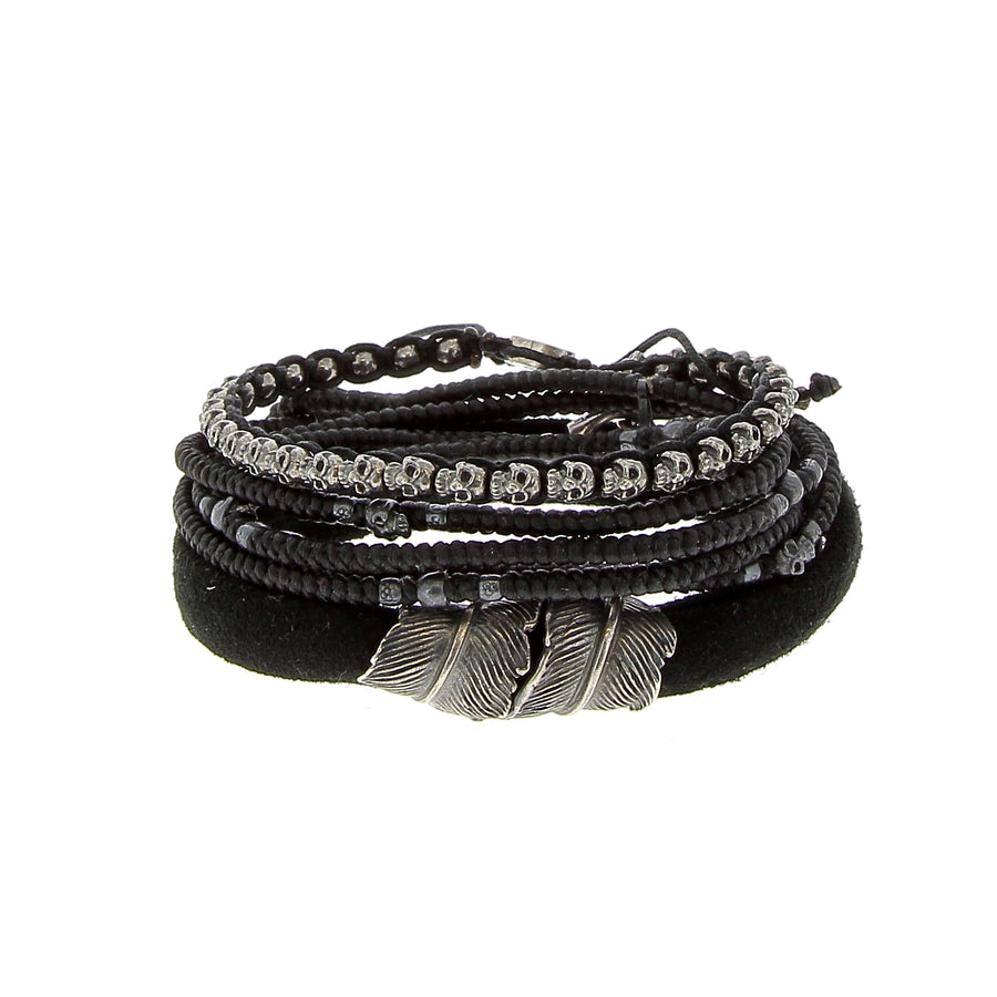 The Black Feather Stack - M Cohen - Bracelets pour homme - Mad Lords