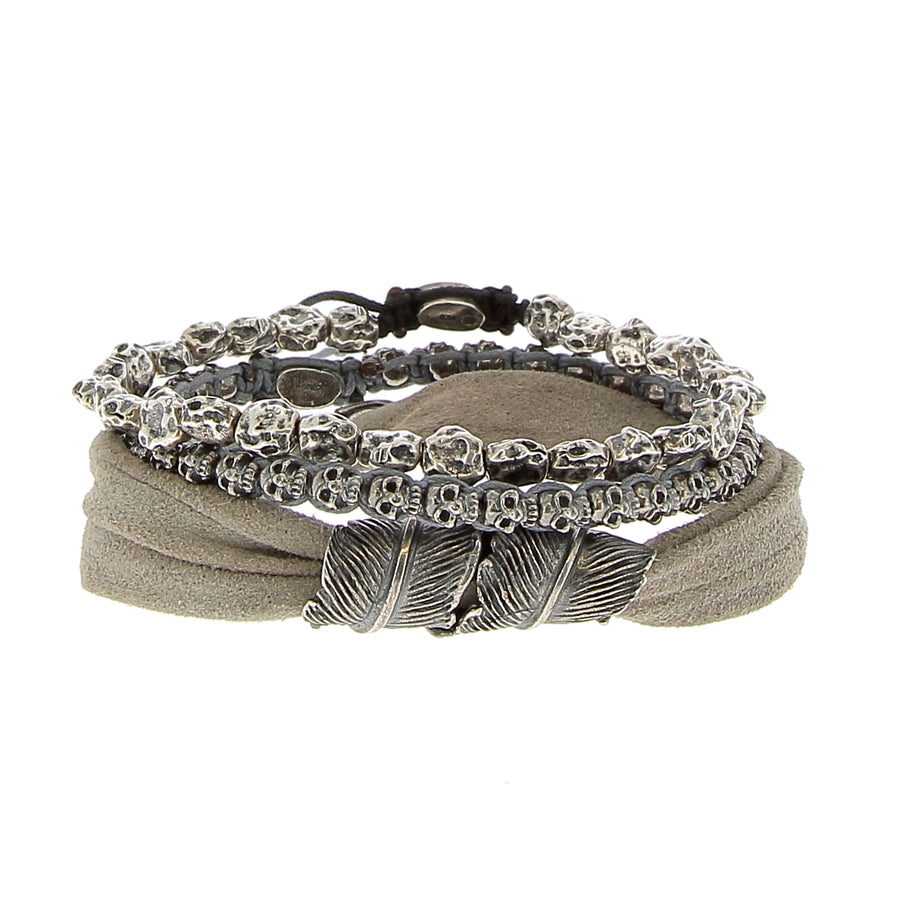 The Silver Feather Stack - M Cohen - Bracelets pour homme - Mad Lords