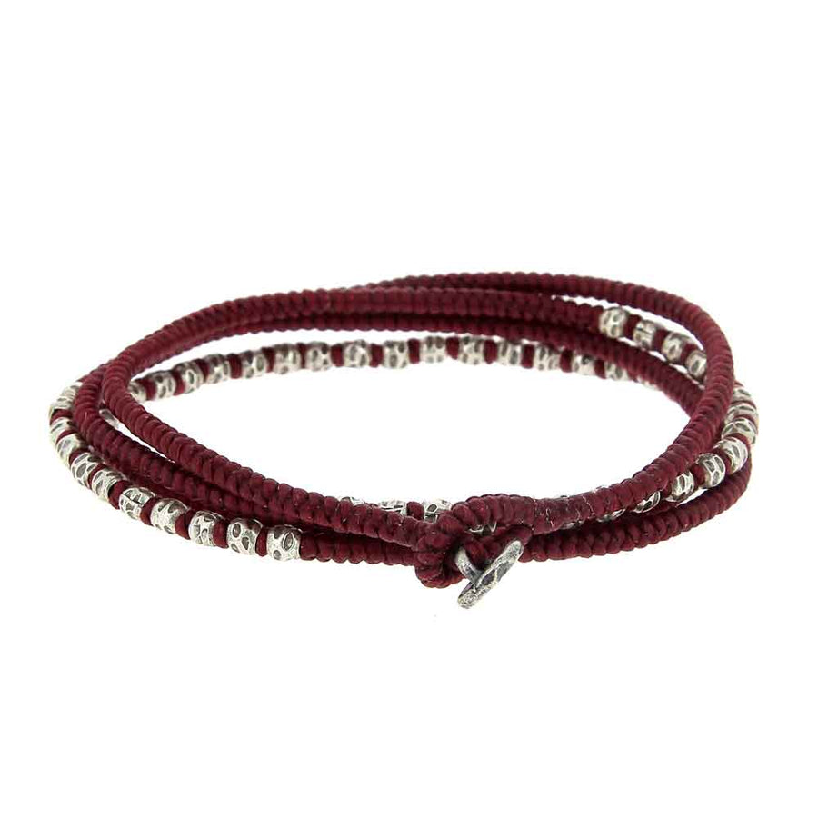 Knotted 4 Wrap Red Thai Hammered Bead - M Cohen - Bracelets pour homme - Mad Lords