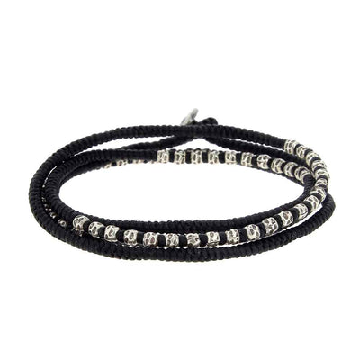 Knotted 4 Wrap Black Thai Hammered Bead - M Cohen - Bracelets pour homme - Mad Lords