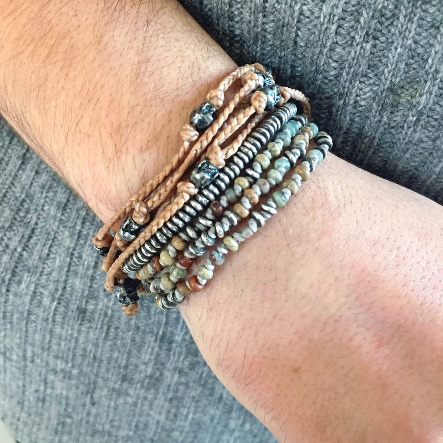The Silver Sand Stack - M Cohen - Bracelets pour homme - Mad Lords