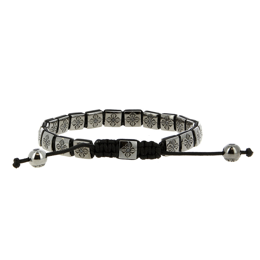 Shamballa Bracelet White Gold Black Diamonds