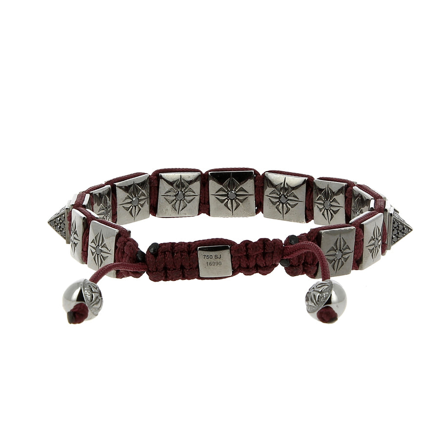 Bracelet Red Pyramid Black Diamonds