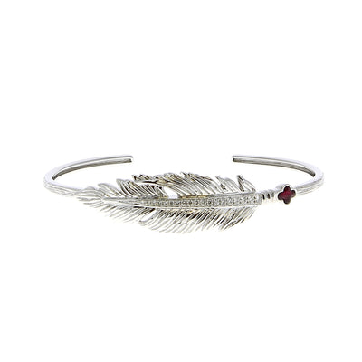 Mad Precious Feather White Gold Diamonds Ruby - Mad Precious - Bracelets pour femme - Mad Lords