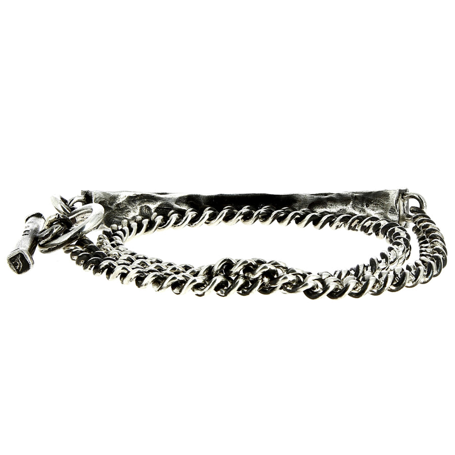 Bracelet Carved Bar Curb Chain