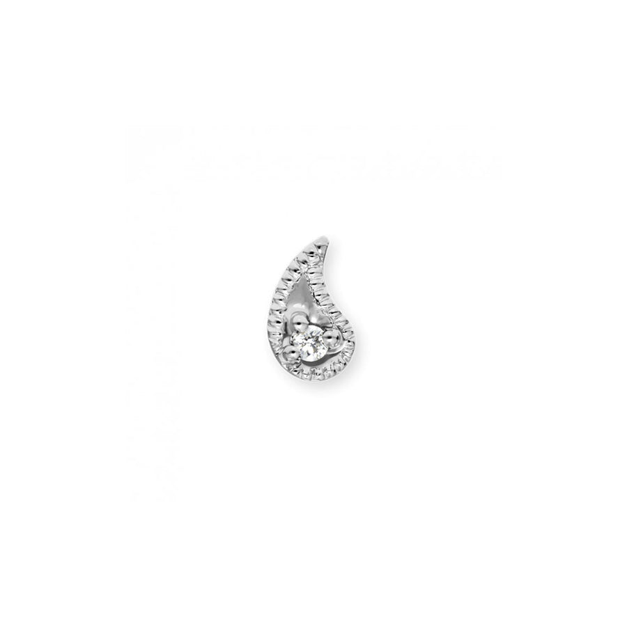 Boucle D'Oreille White Gold Diamond Paisley