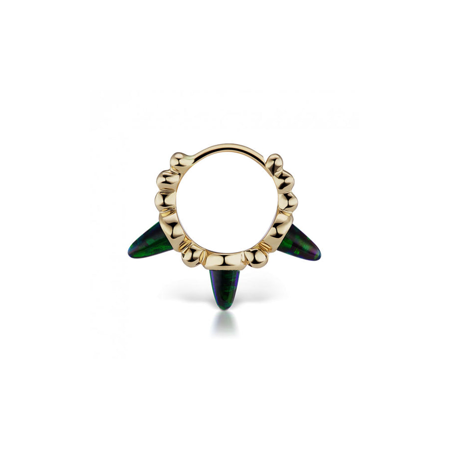 Boucle D'Oreille Black Opal Triple Spike Yellow Gold