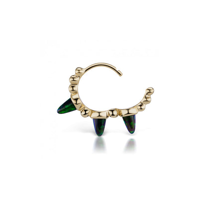 Boucle D'Oreille Black Opal Triple Spike Yellow Gold 8MM - Maria Tash - Boucles d'oreille pour femme - Mad Lords