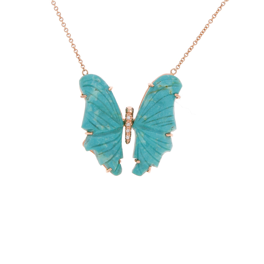 Collier papillon turquoise pavé diamants