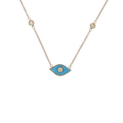 Collier oeil turquoise or rose