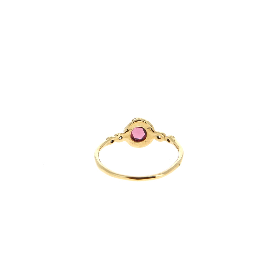 Bague Grenat Rose et Diamants