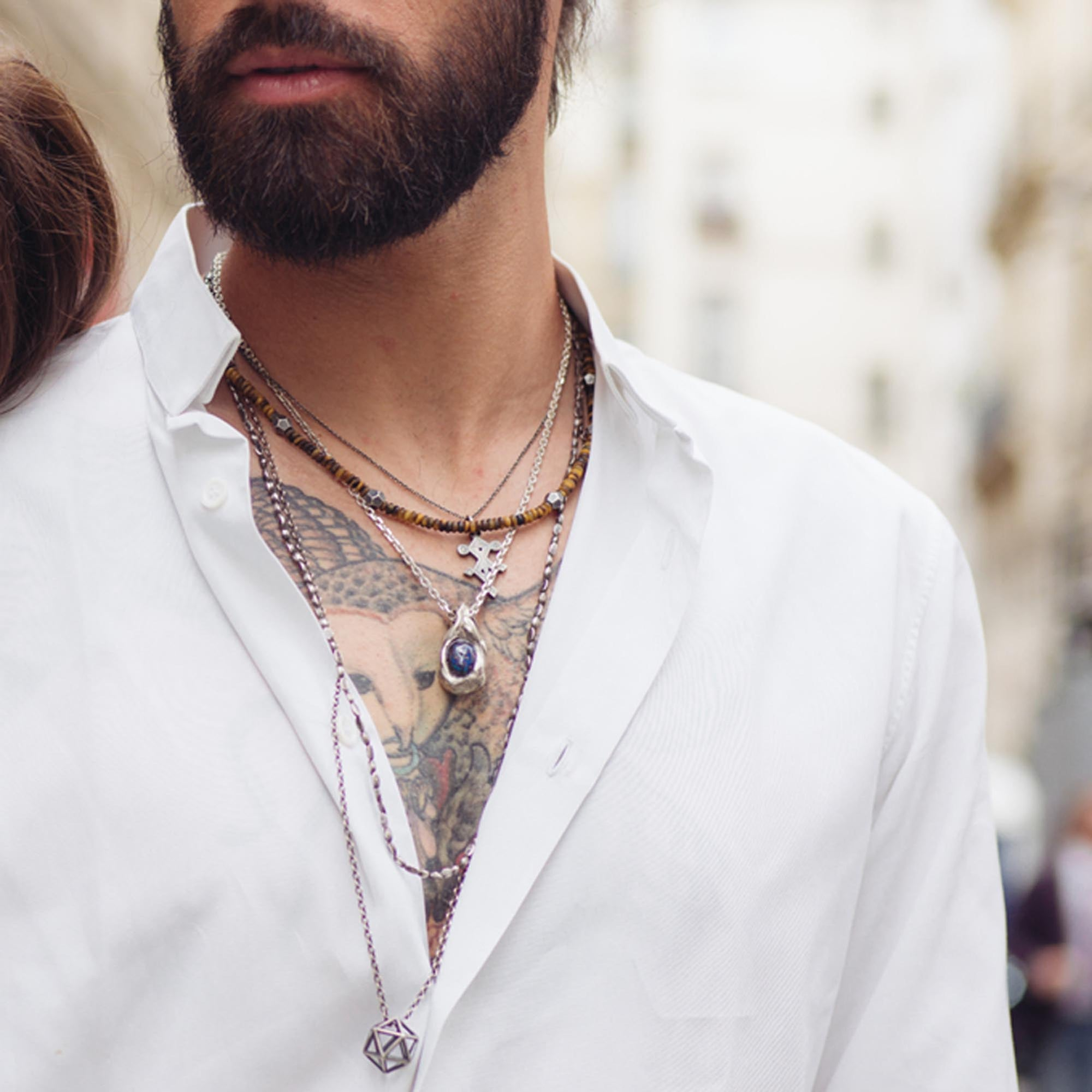 collier perles homme long