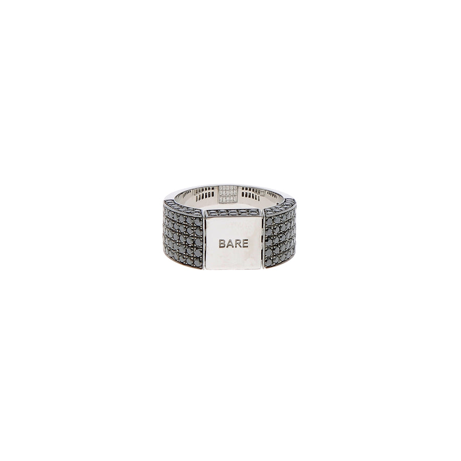 Bague Signet or blanc diamants blancs et noirs