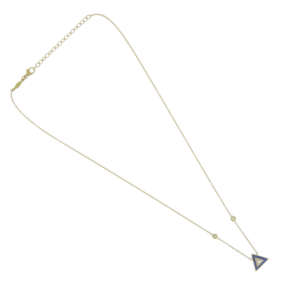 Collier petit triangle lapis et diamant