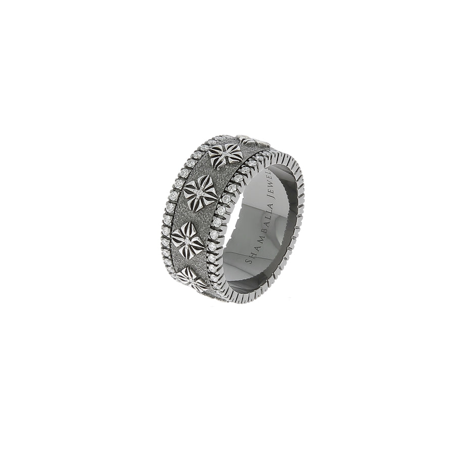Bague spinner plaqué rhodium noir or blanc diamants blancs