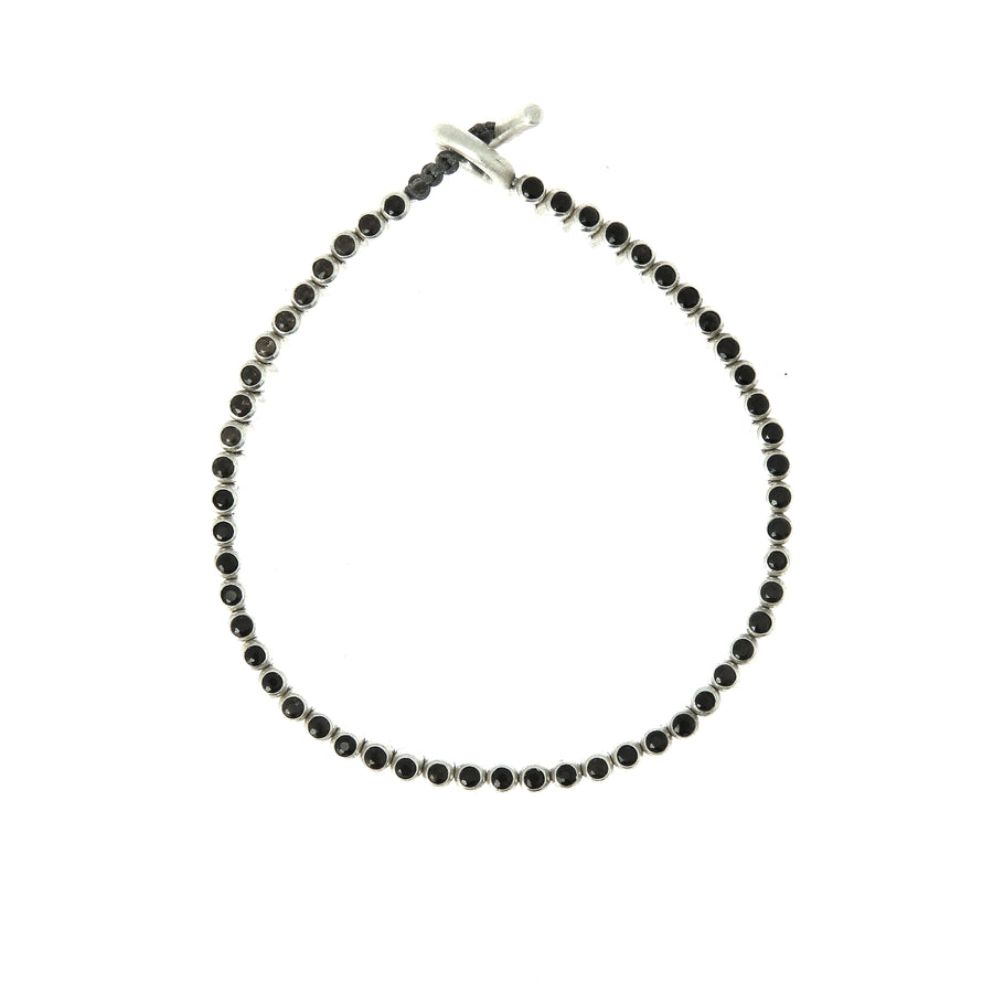 The Silver Pellet Bracelet with Smokey Quartz