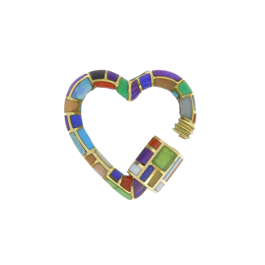 Pendentif Heart lock pierres multicolores
