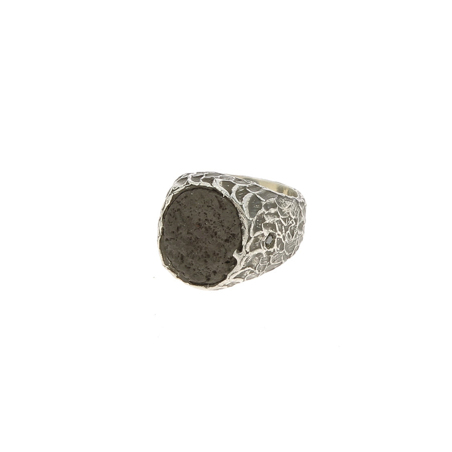 Bague Relief Granite et Diamants Noirs