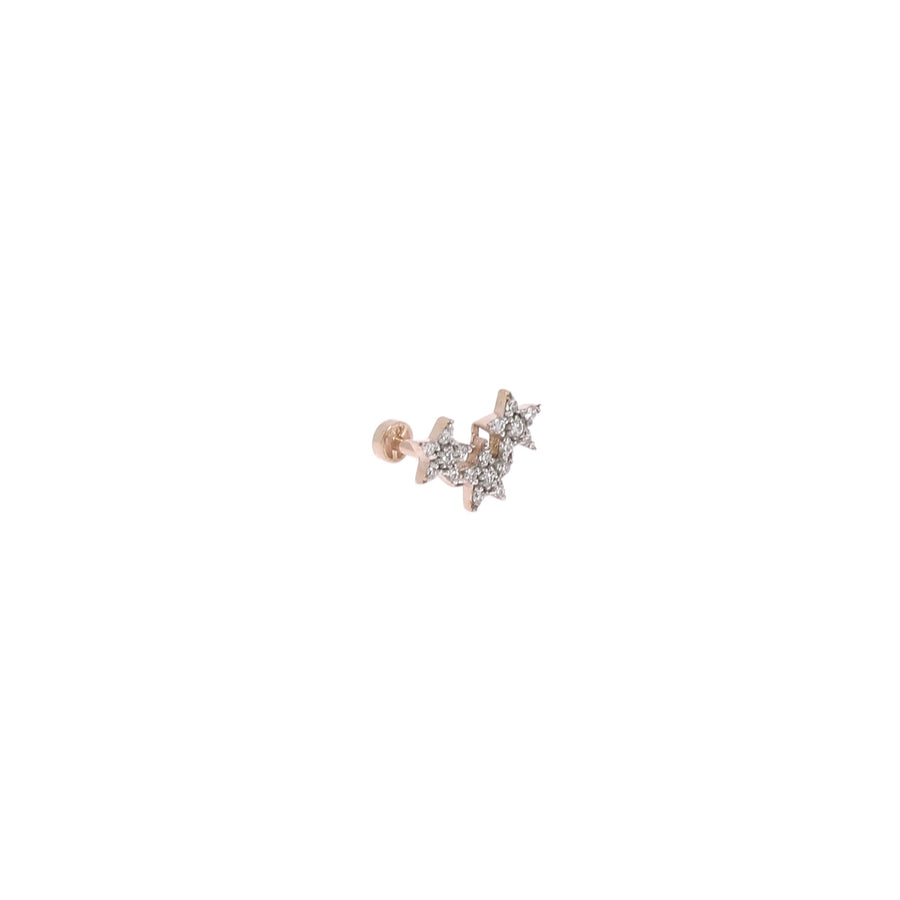 Boucle d'oreille Or Rose 3 Etoiles