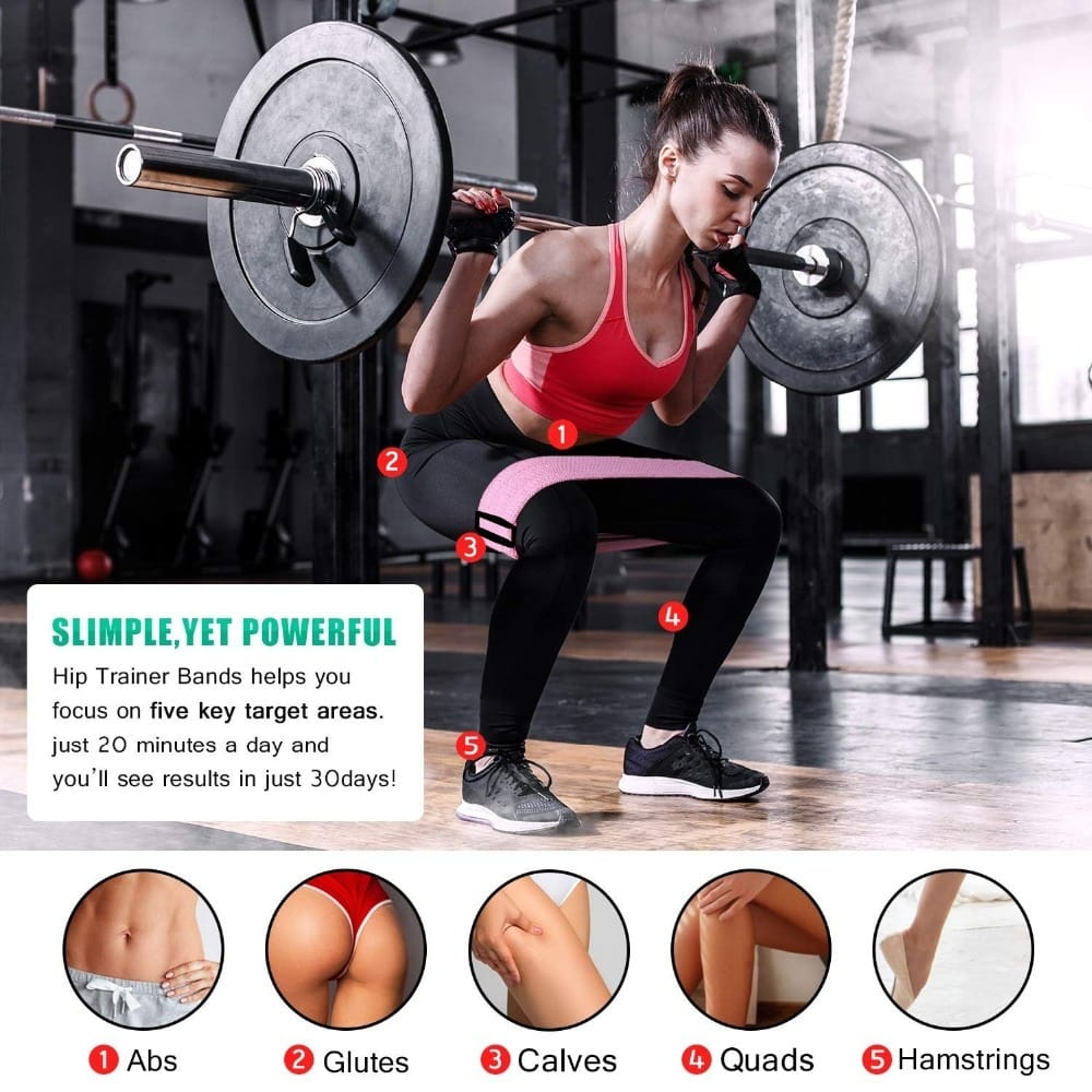 Adjustable Hip Glute Band Powerful Fabric Thighs Legs Booty Elastic