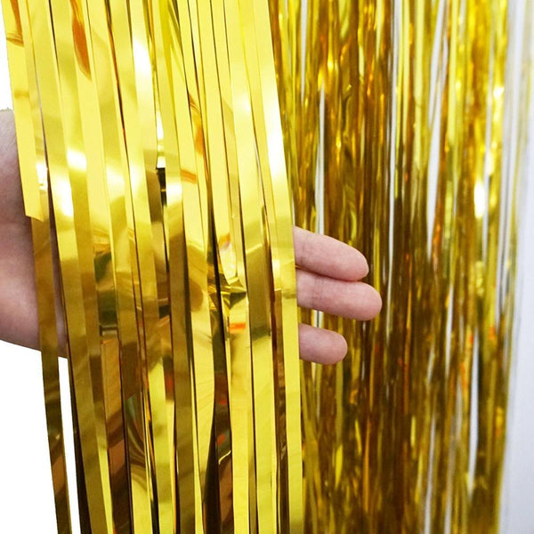 Gold Foil Fringe Tinsel Curtain