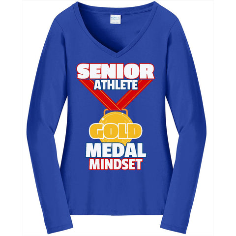 Gold Medal - Ladies Long Sleeve V-Neck Tee