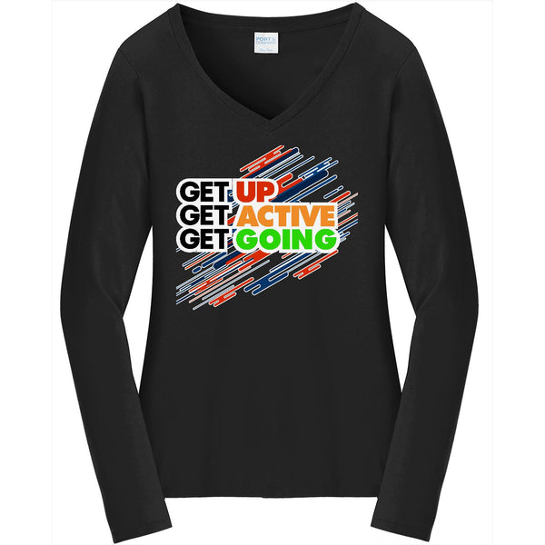 Get Up - Ladies Long Sleeve V-Neck Tee