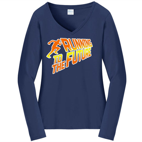 Running To The Future - Ladies Long Sleeve V-Neck Tee