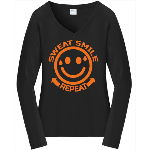 Sweat Smile Repeat - Ladies Long Sleeve V-Neck Tee
