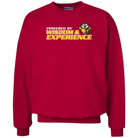 Powered by Wisdom & Experience - Unisex Crewneck Sweatshirt