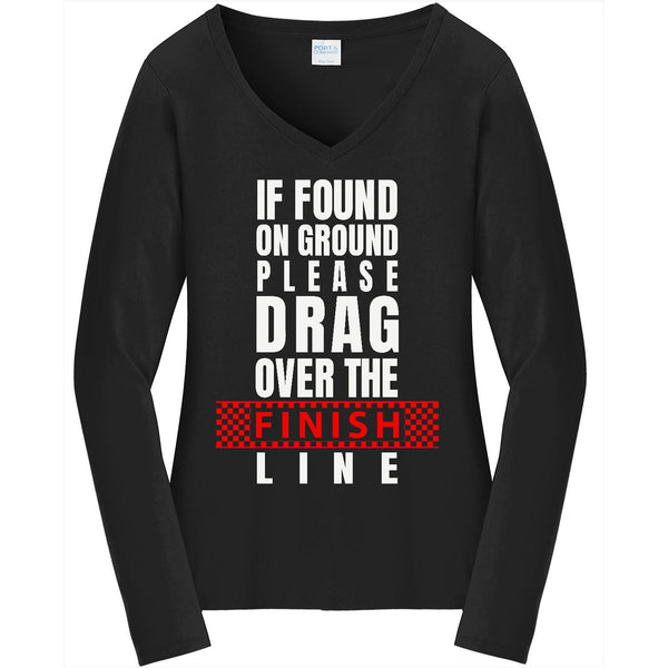 If Found On The Ground - Ladies Long Sleeve V-Neck Tee