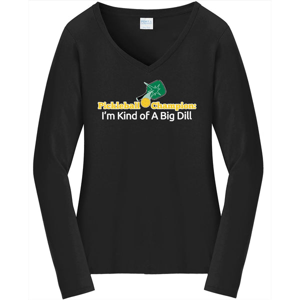 Big Dill - Ladies Long Sleeve V-Neck Tee