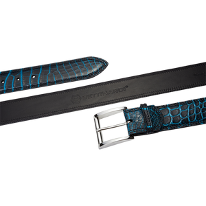 Genuine Crocodile Belt (Black/Cobalt Blue)