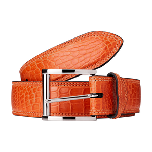 Genuine Crocodile Belt (Orange)